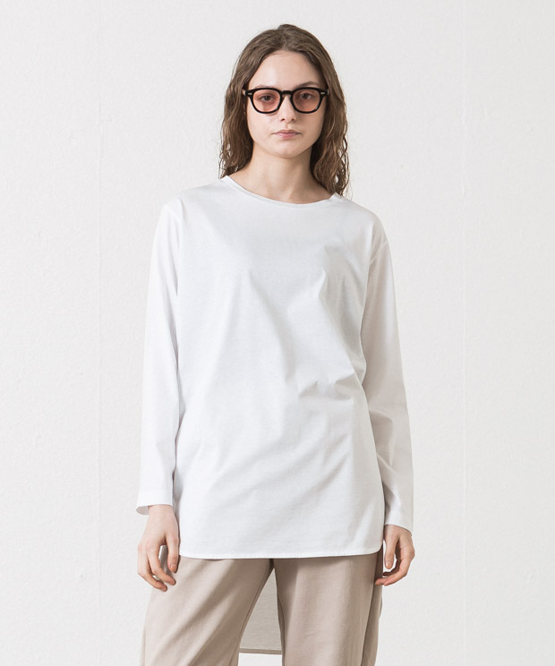 Crewneck Tunic Long T-Shirt - WHITE