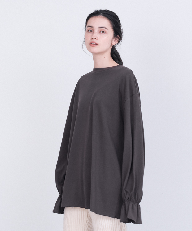 Frill Cuff Sleeve T-Shirt - BROWN
