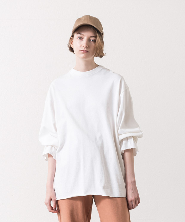 Frill Cuff Sleeves T-Shirt  - WHITE