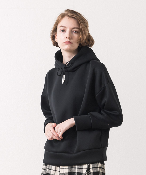 Cardboard Knit Pull Over Hoodie - BLACK
