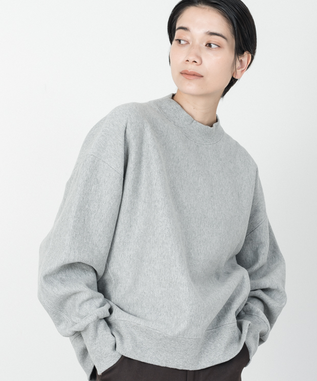 Loose Silhouette High Neck Vintage Sweat - GRAY