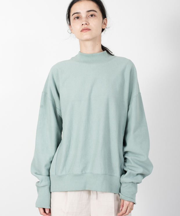 Loose Silhouette High Neck Sweat - GREEN