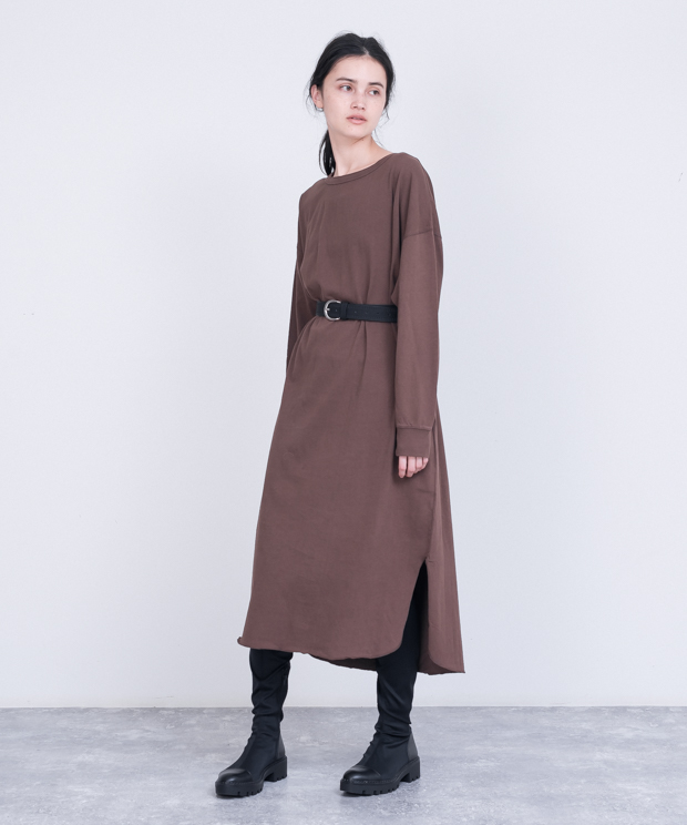 Oversized Back Henley Neck Dress - BROWN