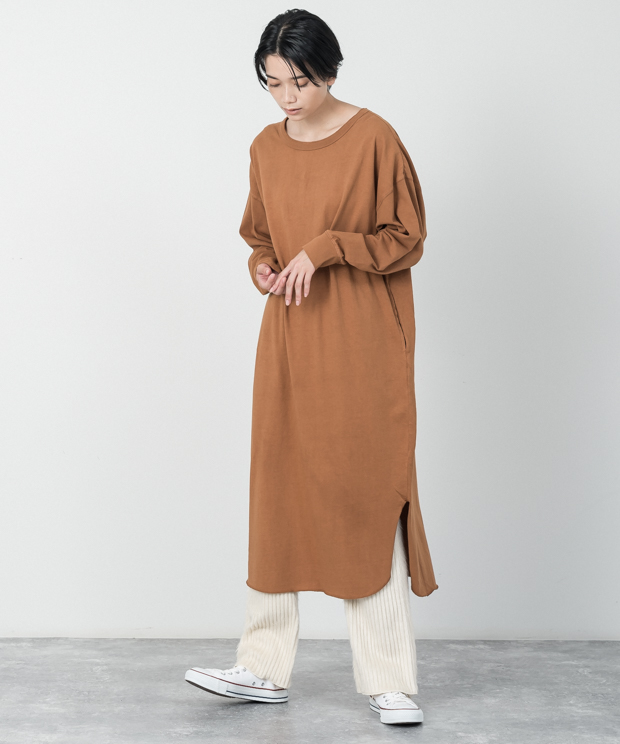 Oversized Back Henley Neck Dress - CAMEL