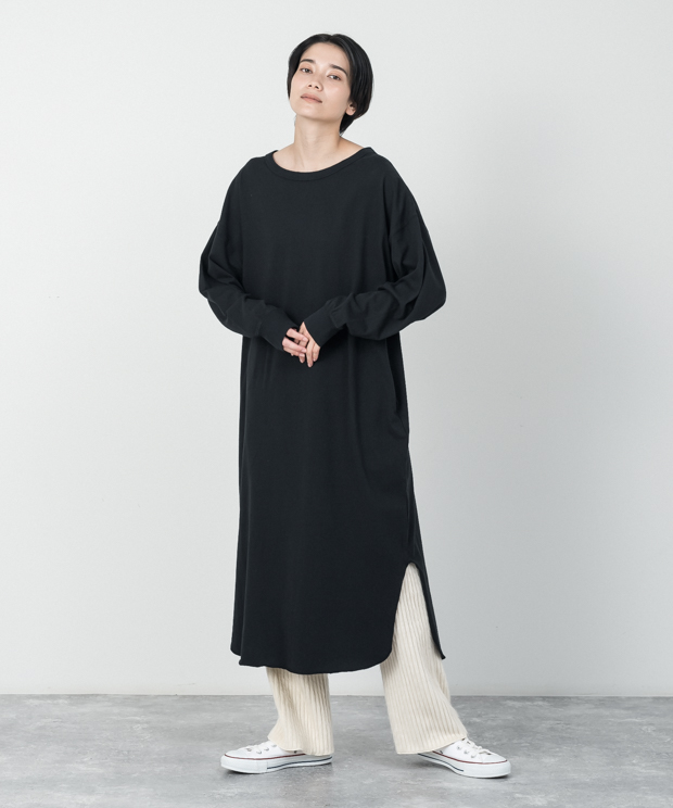 Oversized Back Henley Neck Dress - BLACK