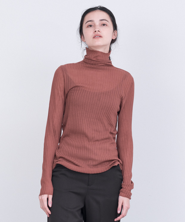 Sheer Lib Turtleneck Knit - TERRACOTTA