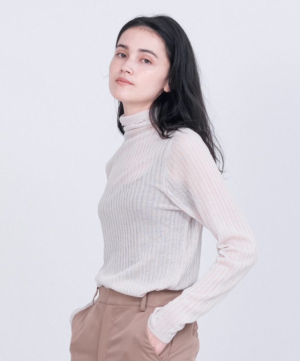 Sheer Lib Turtleneck Knit - IVORY