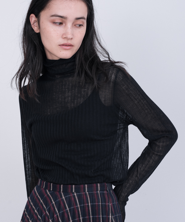 Sheer Lib Turtleneck Knit - BLACK