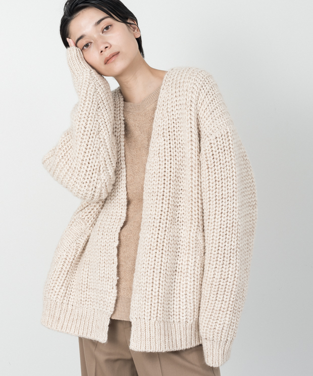 Mix Color Buttonless Cardigan - IVORY