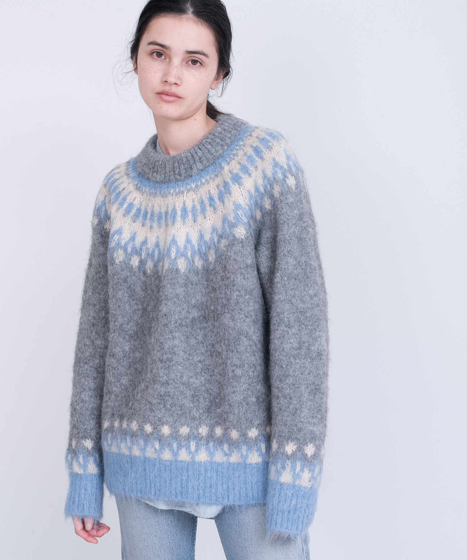 Alpaca Jacquard Crew Neck Knit - GRAY