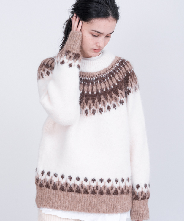 Alpaca Jacquard Crew Neck Knit - NATURAL