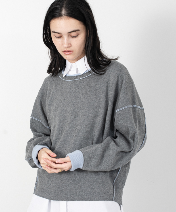 Loose Silhouette Reversible Knit - HEATHER GRAY