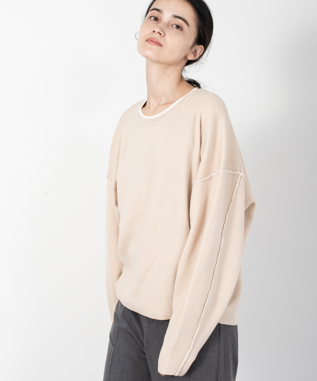 Loose Silhouette Reversible Knit - IVORY