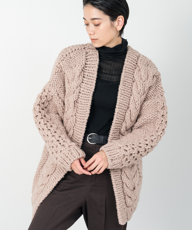 Cable Hand Knit Cardigan - BEIGE