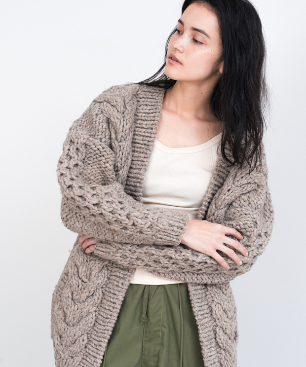 Cable Hand Knit Cardigan - GRAY