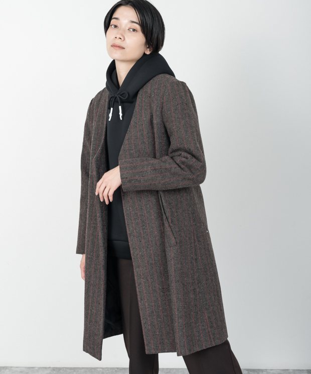 Striped Long Jacket - BROWN