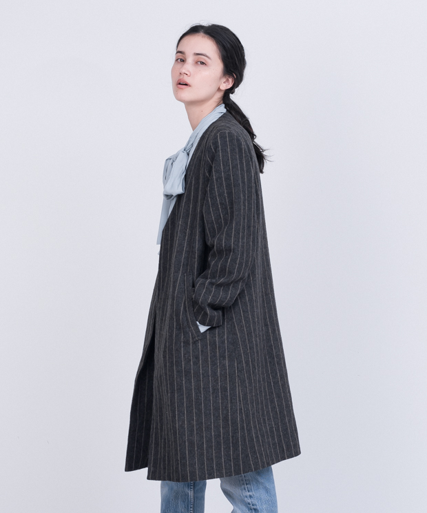 Striped Long Jacket - CHARCOAL
