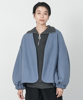 Melton Fleece No-Collar Cardigan - BLUE