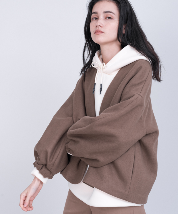 Melton Fleece No-Collar Cardigan - MOCHA