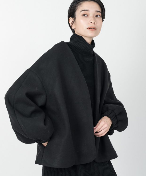Melton Fleece No-Collar Cardigan - BLACK