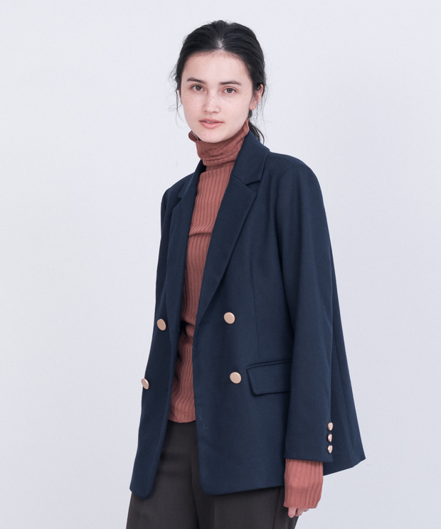 Double Brested Tailored Jacket - NAVY