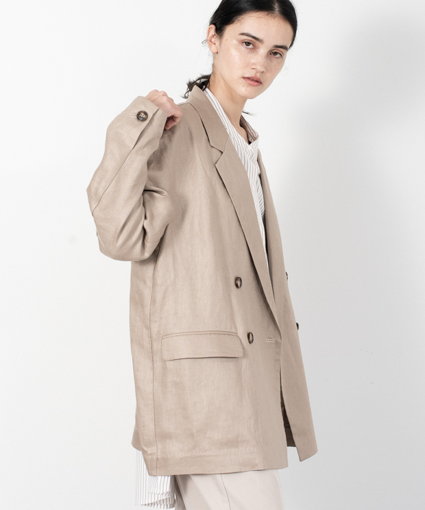 Linen Loose Silhouette Tailored Jacket  - BEIGE