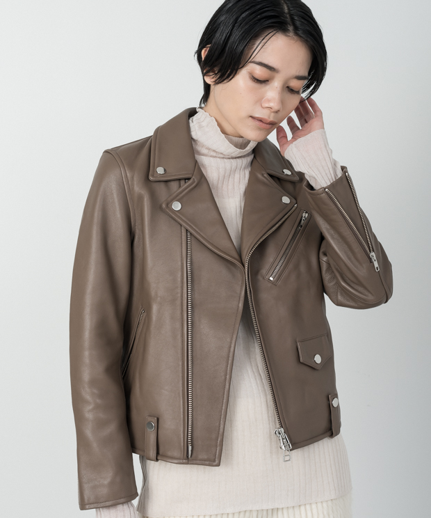 Lamb Leather Double Riders Jacket - MOCHA