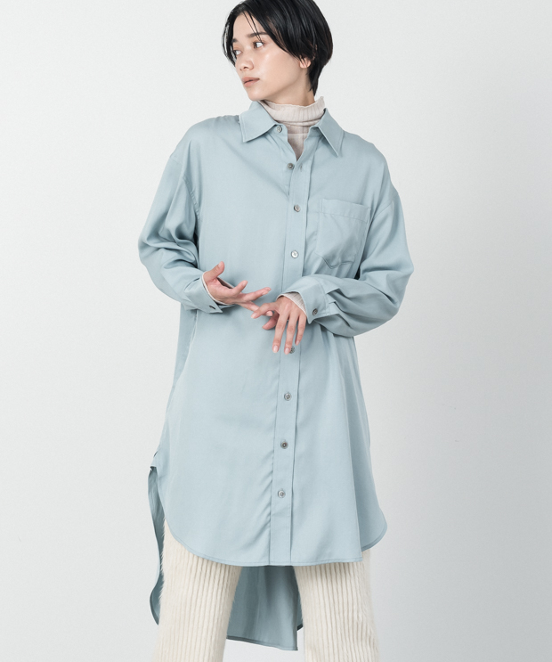 Tencel Long Shirt - SAX