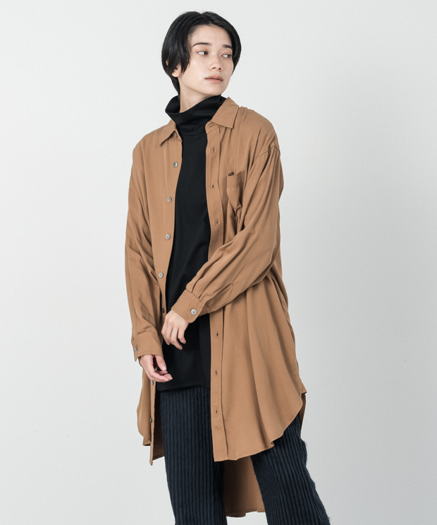 Tencel Long Shirt - CAMEL