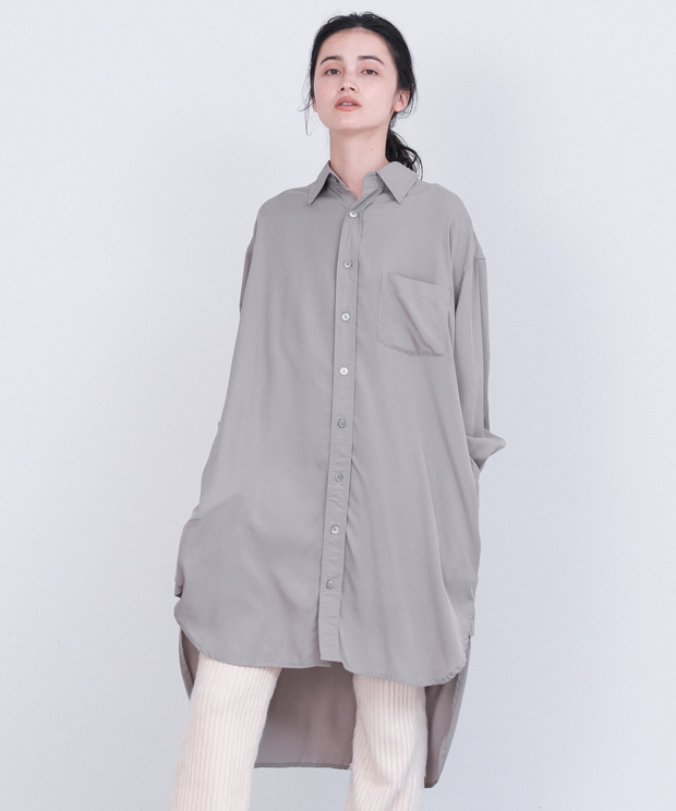 Tencel Long Shirt - GRAY