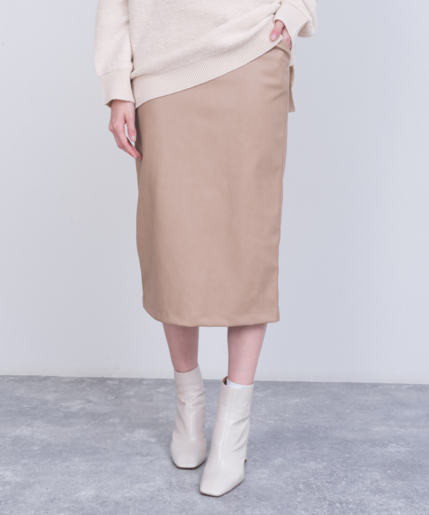 Eco Leather Tight Skirt - BEIGE