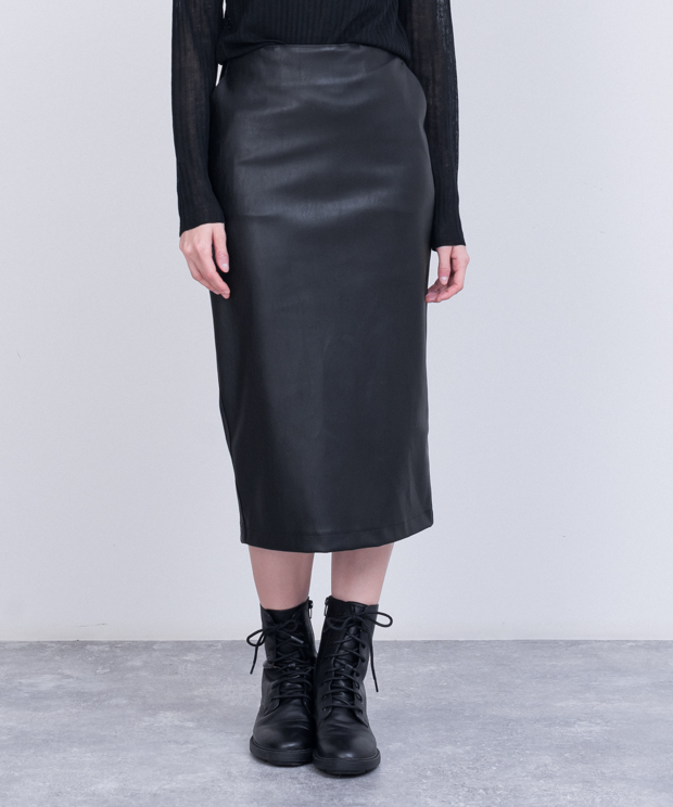 Eco Leather Tight Skirt - BLACK
