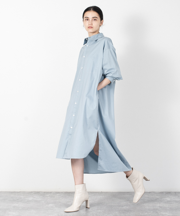 Nc Twill Stitch Work Shirt Dress - BLUE