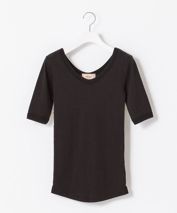 Jacquard Half Sleeves T-Shirt - BLACK