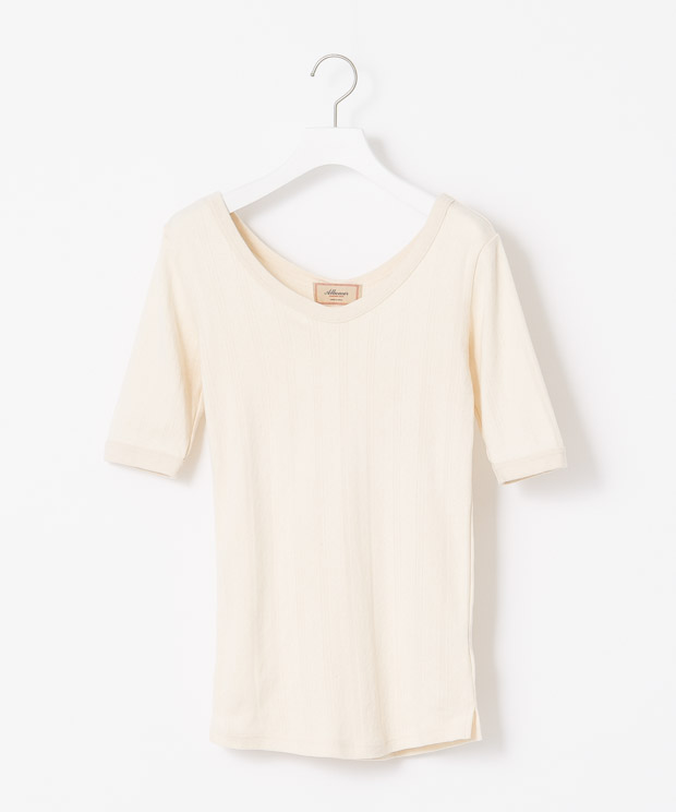 Jacquard Half Sleeves T-Shirt - NATURAL