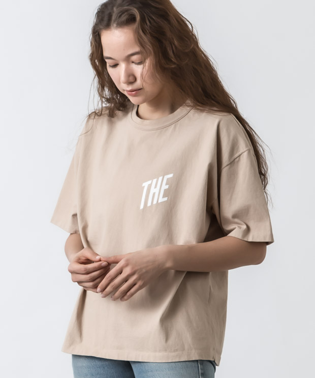 Crew Neck Printed Vintage T-Shirt(THE) - BEIGE