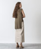 Irregular Hem Sleeveless Knit - KHAKI