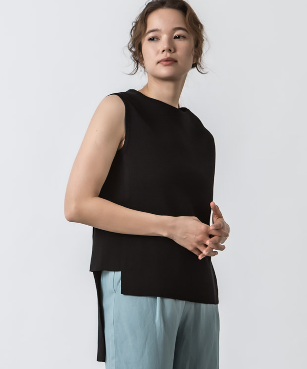 Irregular Hem Sleeveless Knit - BLACK