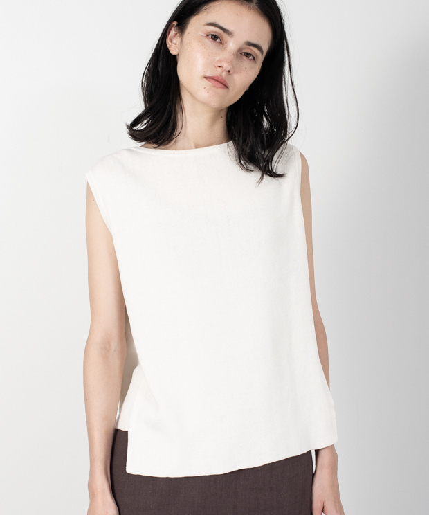 Irregular Hem Sleeveless Knit - WHITE