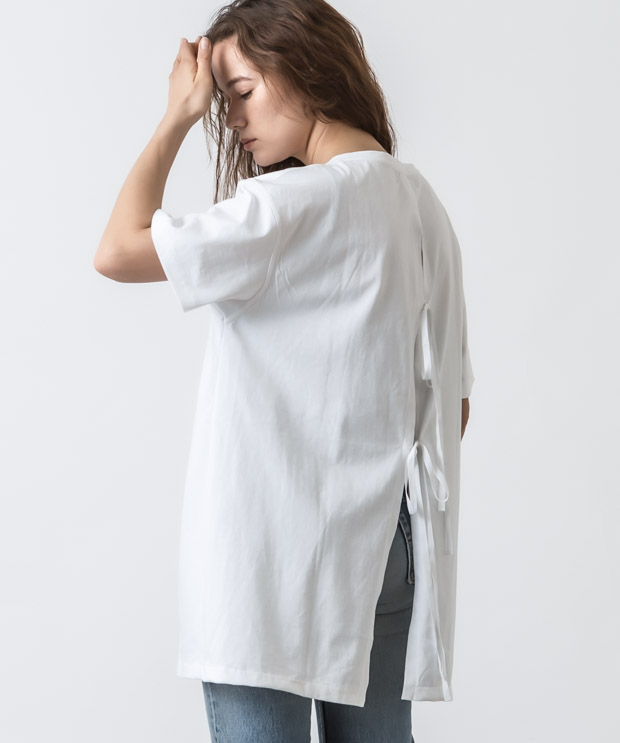 Back Open Design T-Shirt - WHITE