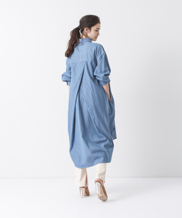 4.5oz Denim Work Shirt Dress - BLUE