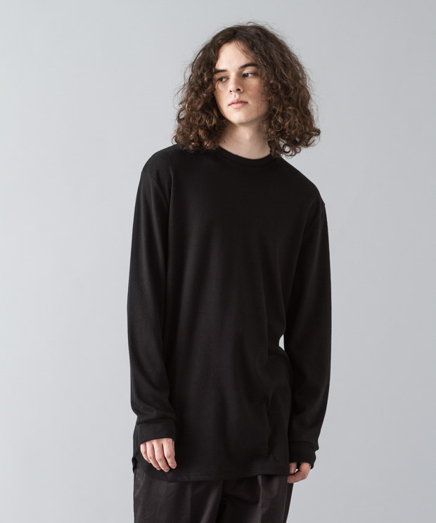 Smooth Long Pullover - BLACK