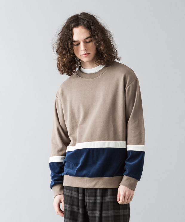 [予約商品]Velour Mix Blocking Pullover - MOCHA