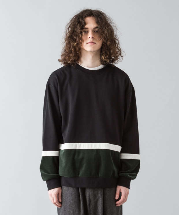Velour Mix Blocking Pullover - BLACK