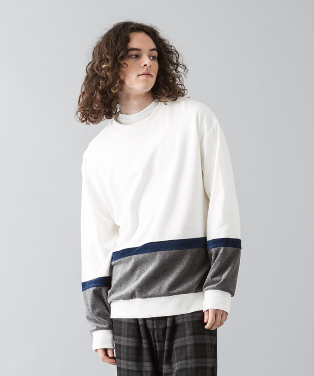 Velour Mix Blocking Pullover - WHITE