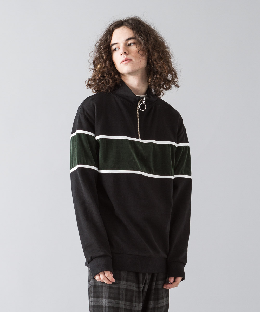 Verour Mix Half Zip Pullover - BLACK