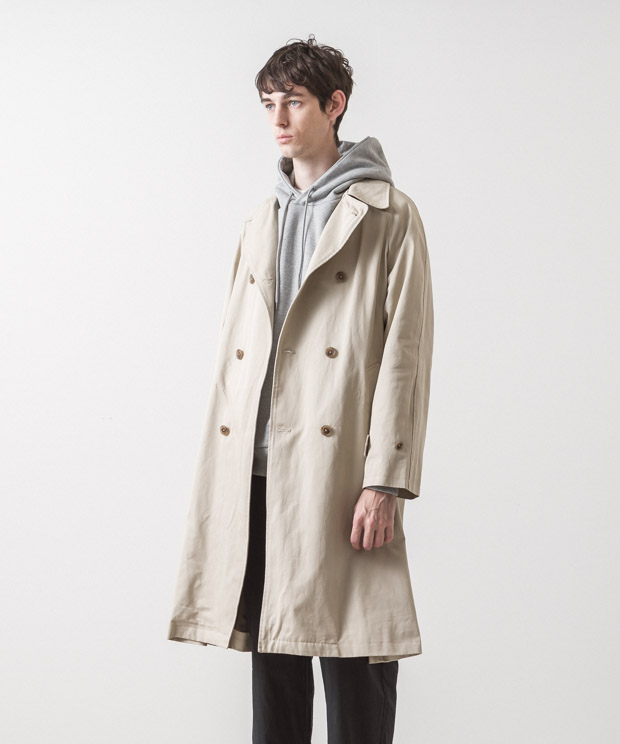 Supima Twill Oversized Trench Coat - BEIGE