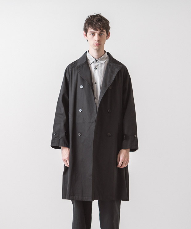 Supima Twill Oversized Trench Coat - BLACK