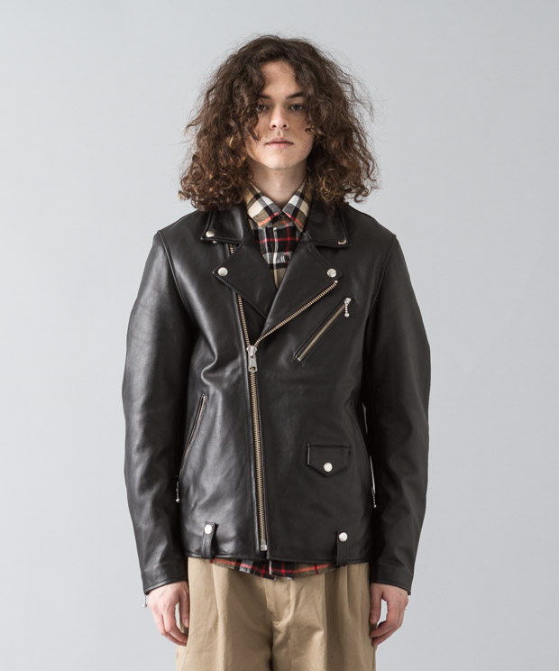 Lamb Leather Double Riders Jacket - BLACK