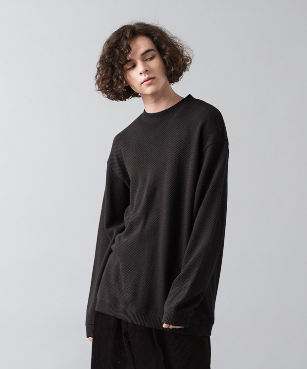 Moss Stitch Wide Pullover - BLACK